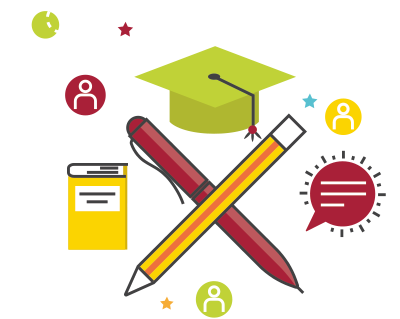 education icon, pen, pencil, mortar board, book