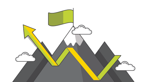 Mountain icon with green flag, showing growth