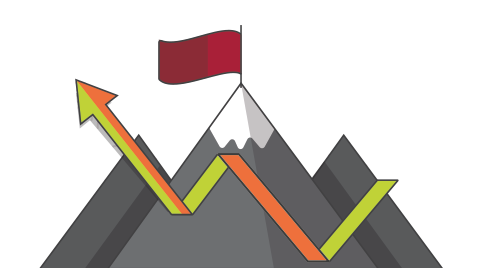 Mountain icon with red flag, showing growth