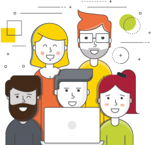 friendly support team icon, a group of 5 team members working on a laptop smiling