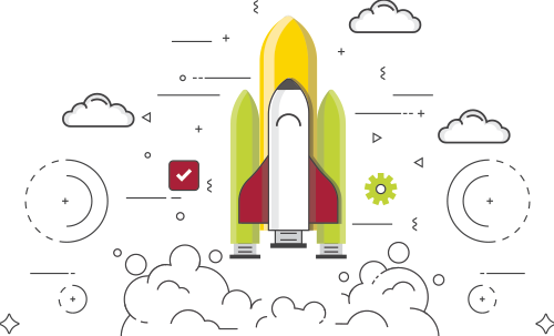 Rocket icon, success, growth and achievement