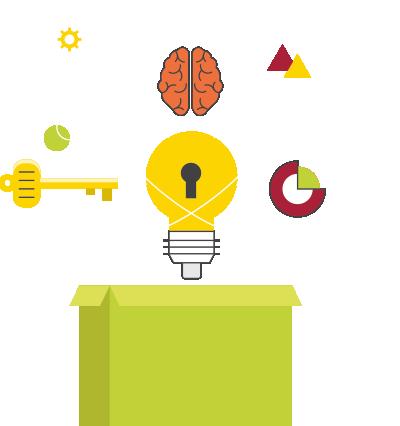 Icon showing ideas and unlocking creativity