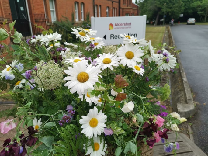 Flowers arranged by one of our particpants at the Tea on the Lawn event