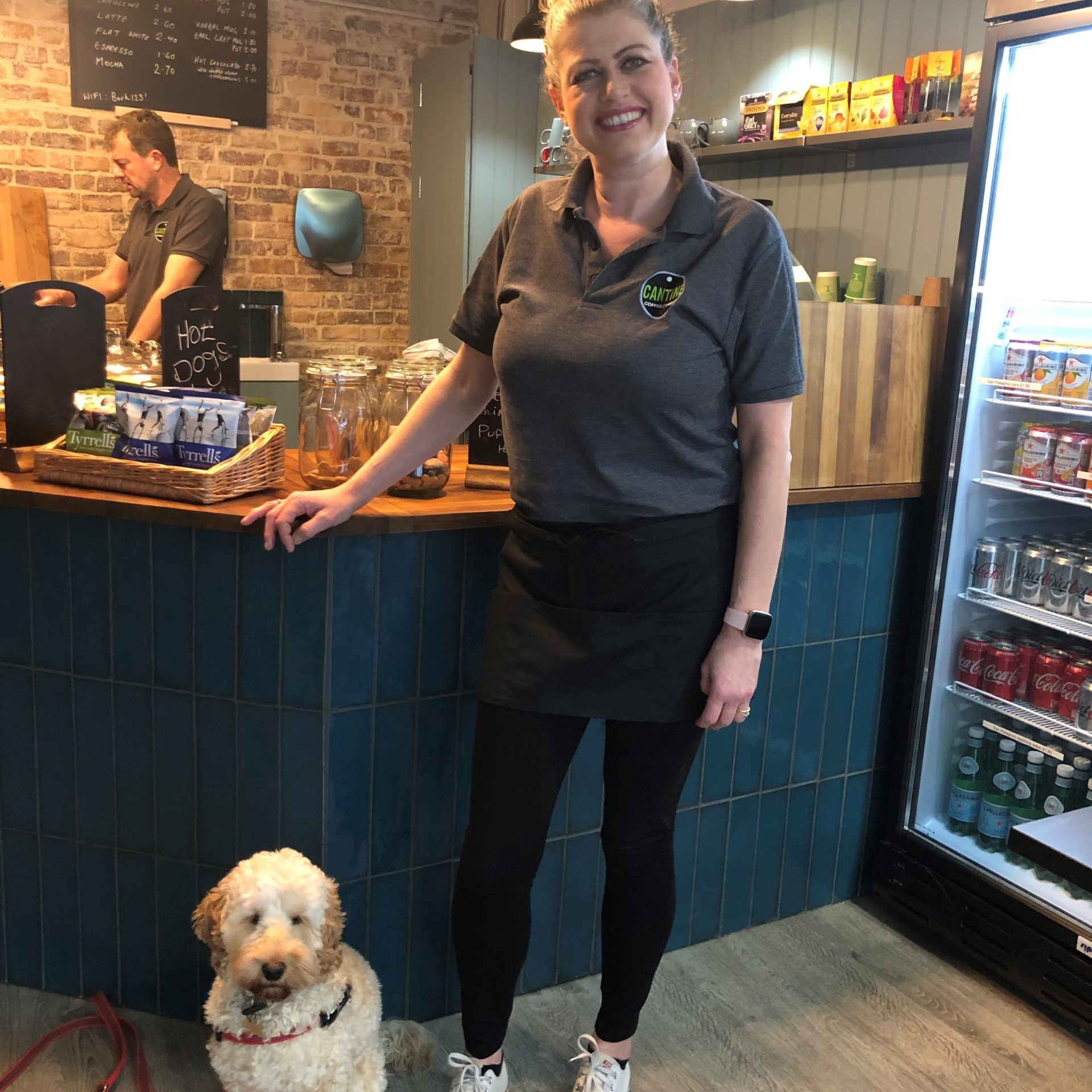 Alison and her dog in Cantine Cafe